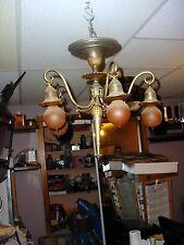 ANTIQUE VICTORIAN ART NOUVEAU ART DECO 5 LIGHT  Brass CHANDELIER Vintage ornate