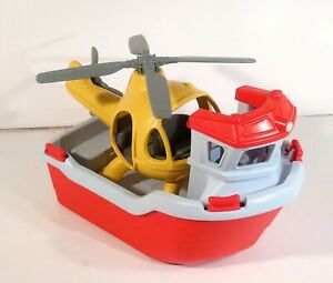 Green Toys Rescue Boat with Helicopter 100% Recycled Plastic Made in USA 2 Piece