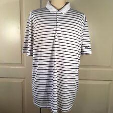 Nike Mens 2XL XXL Golf Polo Shirt Standard Fit Stripe White Grey 725531