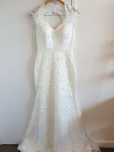 Suga Pash ivory lace sweetheart backless train wedding dress size uk 12