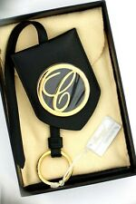 Chopard 95016-0046 Classic Round Logo Black Leather Rose Gold Bag Charm Keychain