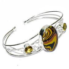Rainbow Calsilica Gemstone 925 Silver Jewelry Adjustable Cuff