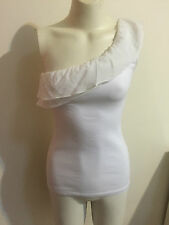 Kookai One Side Shoulder White Top Cami Tank Scoop Neck Cream Ruffle Heavenly XS