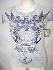 d7c4b0139ec4cf Aqua Gray Short Sleeve 100% Cotton T-Shirt Womens Size Medium 8 10