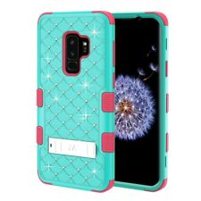 FOR SAMSUNG GALAXY S9 PLUS G965 TURQUOISE PINK TUFF GEM STUDS STAND CASE COVER