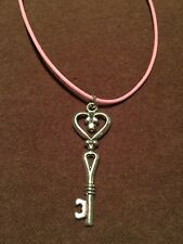 Leather Pink 18 Inch Skeleton Key Charm Necklace Silver