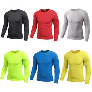 Men's Tight Elastic Fitness Training Tops Solid Color Sports Long Sleeve T-Shirt