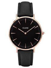 CLUSE Uhr CL18001 La Bohème Damenuhr Rosegold Leder Schwarz Armbanduhr Quarz NEU