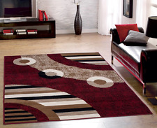 Red Black Modern Geometric Abstract Circles Design Area Rug 5'x 7' Living Room