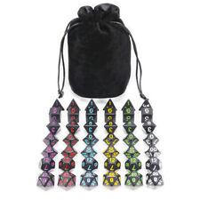 6 Sets of 7 Dice DND Black Multi Color Numbers Board Game Free Velvet Black Bag