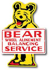 Vintage Style Bear Wheel Alinement Allignment Balancing Service Decal Sticker