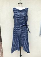 Tracy Reese Flax Dress in Size 12 Large Women's Blue Directional Stripe A-Line