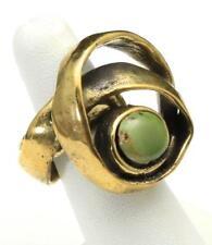 Handmade Artisan Brass Swirl & Green Turquoise Stone Adjustable Ring Sz 11 12