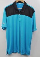 Adidas Climachill Size large Men's Golf Polo Shirt Solar Blue Black Short Sleeve