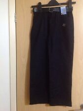 BNWT  BOY'S BLACK TEFLON COATED SCHOOL TROUSERS WITH BELT - AGE 10YEARS
