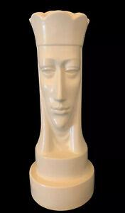 """Vtg Peter Ganine Brayton Pottery 12"""" White Queen Ceramic Chess Piece 1947"""