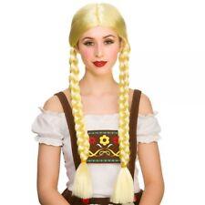 Adult Ladies Blonde OktoberfestBeerGirlWig Fancy Dress Plait Pigtail Wench