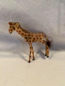Vintage Wagner Kunstlerschutz West Germany Handwork Flocked Animal Giraffe