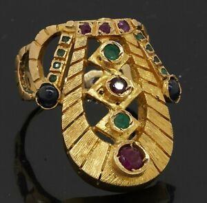 Heavy 18K gold 1.25CTW emerald ruby sapphire Nemes Pharaoh's wedding ring size 8