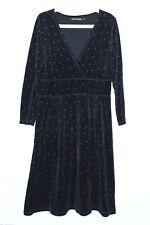Gudrun Sjoden Velvet Dress V Neck Polka Dot Pattern 80 % Cotton Size M