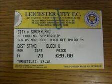 05/03/2000 Ticket: Leicester City v Sunderland  (folded). Faults with this item