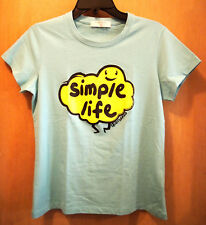 GIORDANO Blue Teal Simple Life Cloud Smiley Ladies Women's T-Shirt L Fits Medium