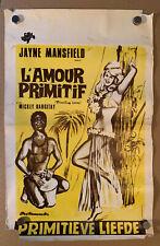 Primitive Love Jayne Mansfield 1964 Vintage Belgian movie poster