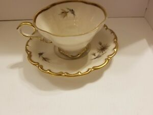 LINDER KUEPS BAVARIA TEA CUP AND SAUCER GRANADA DESIGN  GOLD TRIM