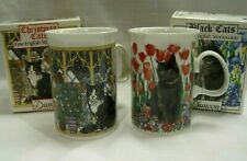 Dunoon Scotland 2 Mugs Cup Christmas Cat Black Cats Box Red Tulips Sue Scullard