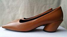 NIB BALENCIAGA Quadro Leather Pumps Square Toe Round Block Heels 37 7 Tan Brown