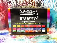 Brusho® 24 x 15g Pots - Non Toxic + ***FREE WAX RESIST STICKS!!!***