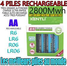 4 PILES ACCUS RECHARGEABLE AA 2800Mwh LITHIUM Li-ion 1.5V KENTLI R6 R06 LR06 LR6