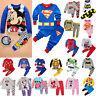 2pcs Baby Kids Boys Girls Cartoon Superhero Pajamas Pjs Set Sleepwear Nightwear