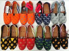 New NFL Women's Canvas Stripe Slip On Shoes House Shoes