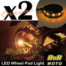 2x Orange 360 Degree Cycle Rim Wheel SMD LED Pod Light For Yamaha Motorcycles