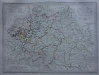 Original antique map GERMANY, CIRCLES OF GERMANY IN 1789, Malte-Brun, 1846
