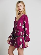 Free People Embroidered Austin Dress Berry Purple & White Long Sleeve Mini Small