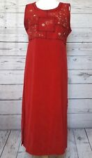 White Stag Womens Dress Red Sleeveless Sheath Jumper Embroidered Modest Sz 12/14