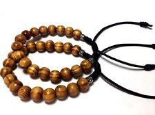 Shamballa Pine Wood Brown Nylon Cord Silver Details Bracelet - Men's & Woman's