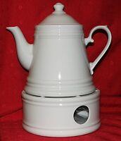 Porzellan Teekanne Nostalgie weiß  ca. 1,2 ltr. mit Stövchen als Set