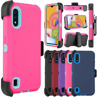 For Samsung Galaxy A01 Phone Case Shockproof Belt Clip Holster Stand Armor Cover