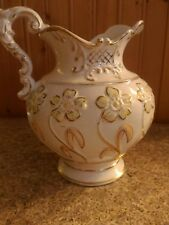 Antique Hptd Haynes Balt Pottery Florian yellow flower w gold Pattern Pitcher