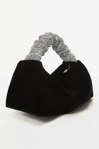Alexander Wang mini scrunchie velvet bag with rhinestone handles Authentic