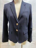 J.Crew Size 8 Navy Blue Accent Buttons Wool Schoolboy Blazer Jacket