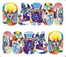 Nail Art Decals Transfers Stickers Colourful Dogs (A-1286)