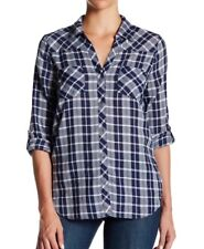 Soft Joie Navy Blue Plaid Long Sleeves Roll Tab Sleeves Small Shirt Top