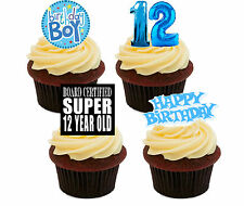 12th Birthday Boy Edible Cupcake Toppers, Blue Stand-up Fairy Cake Decorations