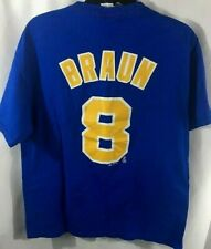 Milwaukee Brewers Tee Shirt #8 Braun Majestic  Blue Adult Large Cotton