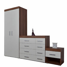 Bedroom 3 Piece Set 4+4 Drawer Chest and Bedside Table & Wardrobe White & Walnut