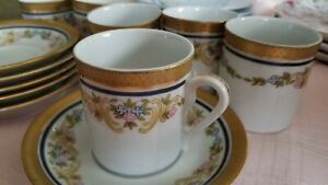 RARE Vintage Gold Plated Coffee Tea 6 Cups & Saucers Scherzer Bavaria Germany